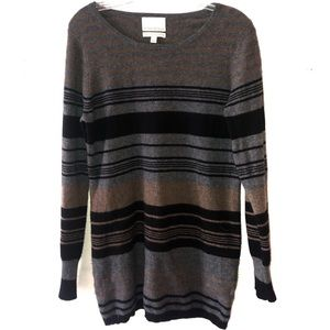 CYNTHIA ROWLEY 2 PLY CASHMERE GRAY STRIPED SWEATER